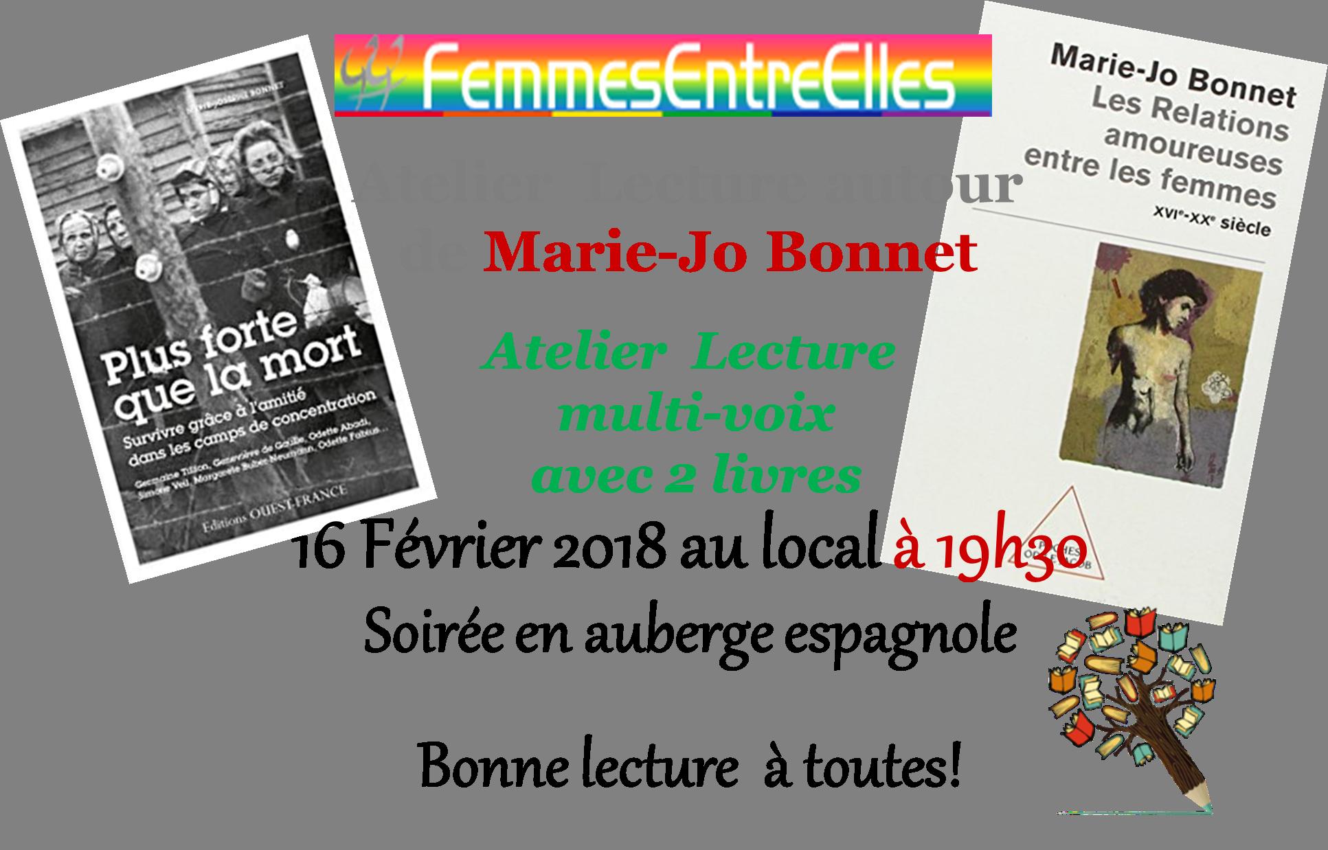 [FEE] : Atelier Lecture le 16 Février 2018 autour de Marie-Jo Bonnet