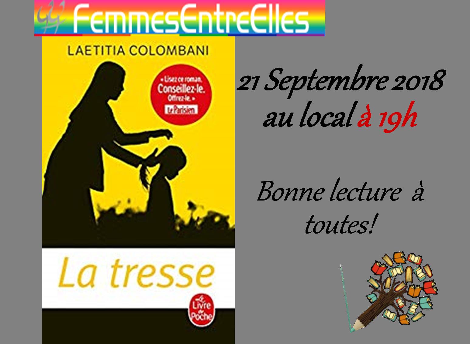 """[FEE] Atelier lecture autour de """"La Tresse"""" le 21 Septembre 2018"""