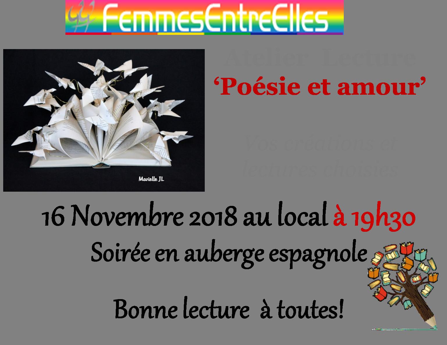 """[FEE] : Atelier lecture """"Amours et poésies"""" le 16 Novembre 2018"""