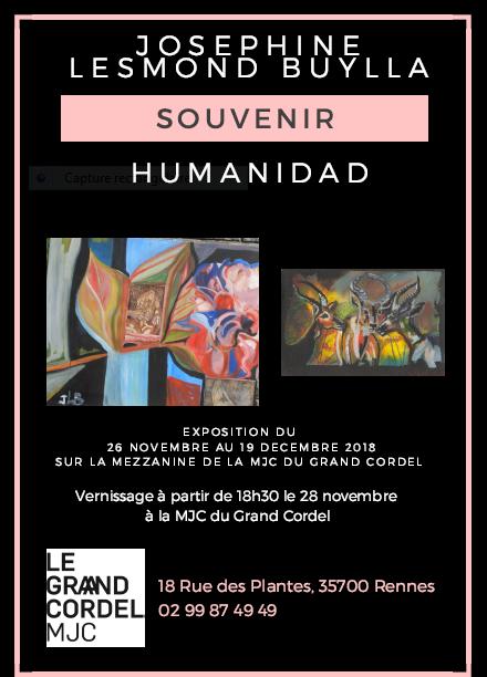 28 Novembre :Vernissage & Exposition de Joséphine à la MJC du Grand Cordel