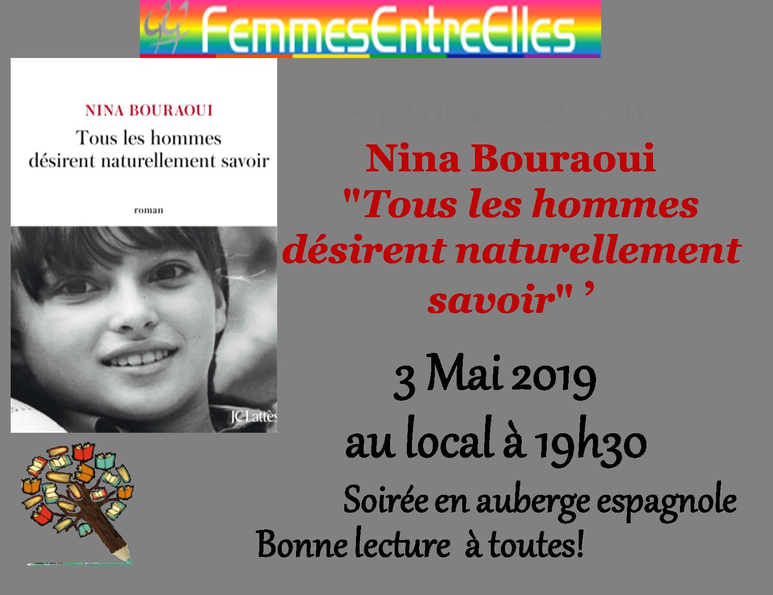 """[FEE] Atelier lecture le 3 Mai 2019  """"Tous les hommes désirent naturellement savoir"""", Nina Bouraoui"""