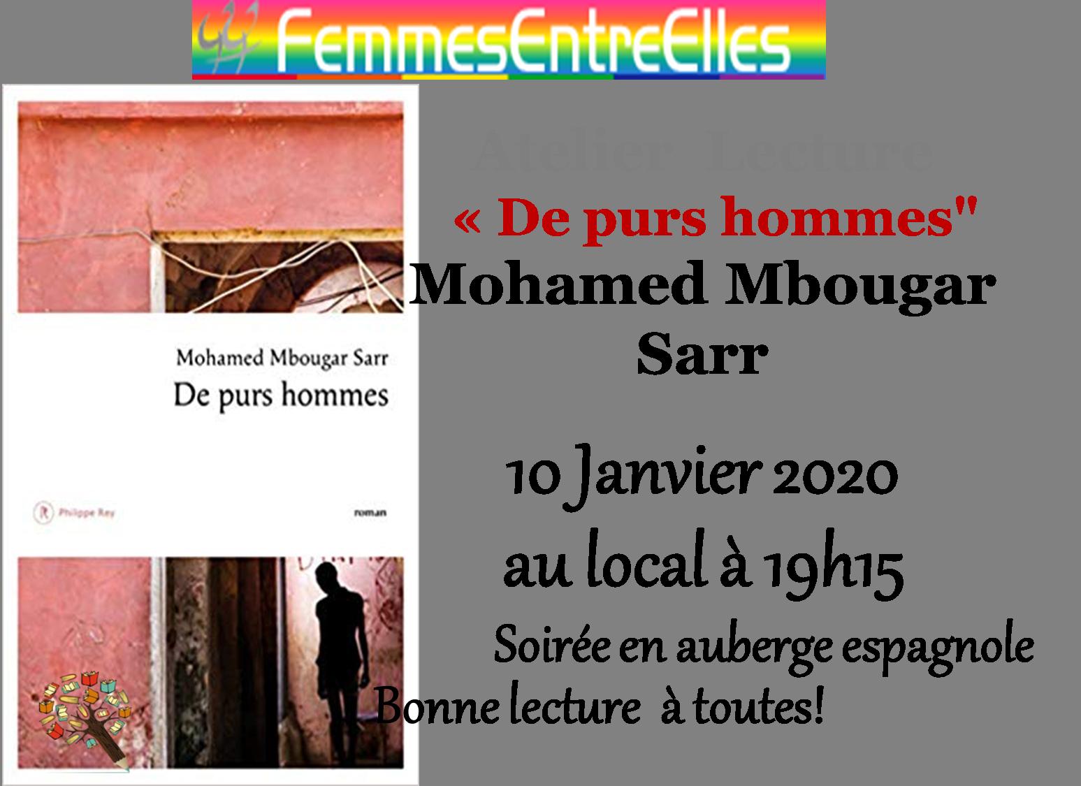 """[FEE] : Atelier Lecture """"de purs hommes"""" le 10 Janvier 2020 au local à 19h15"""