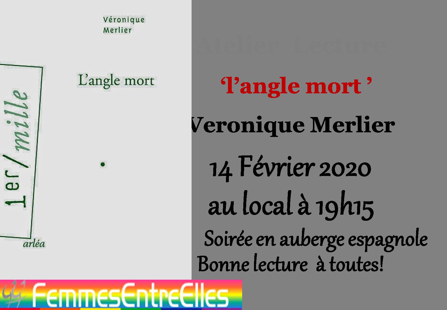"""[FEE] : Atelier lecture le 14 Février 2020, """"L'angle Mort"""" de Véronique Merlier"""