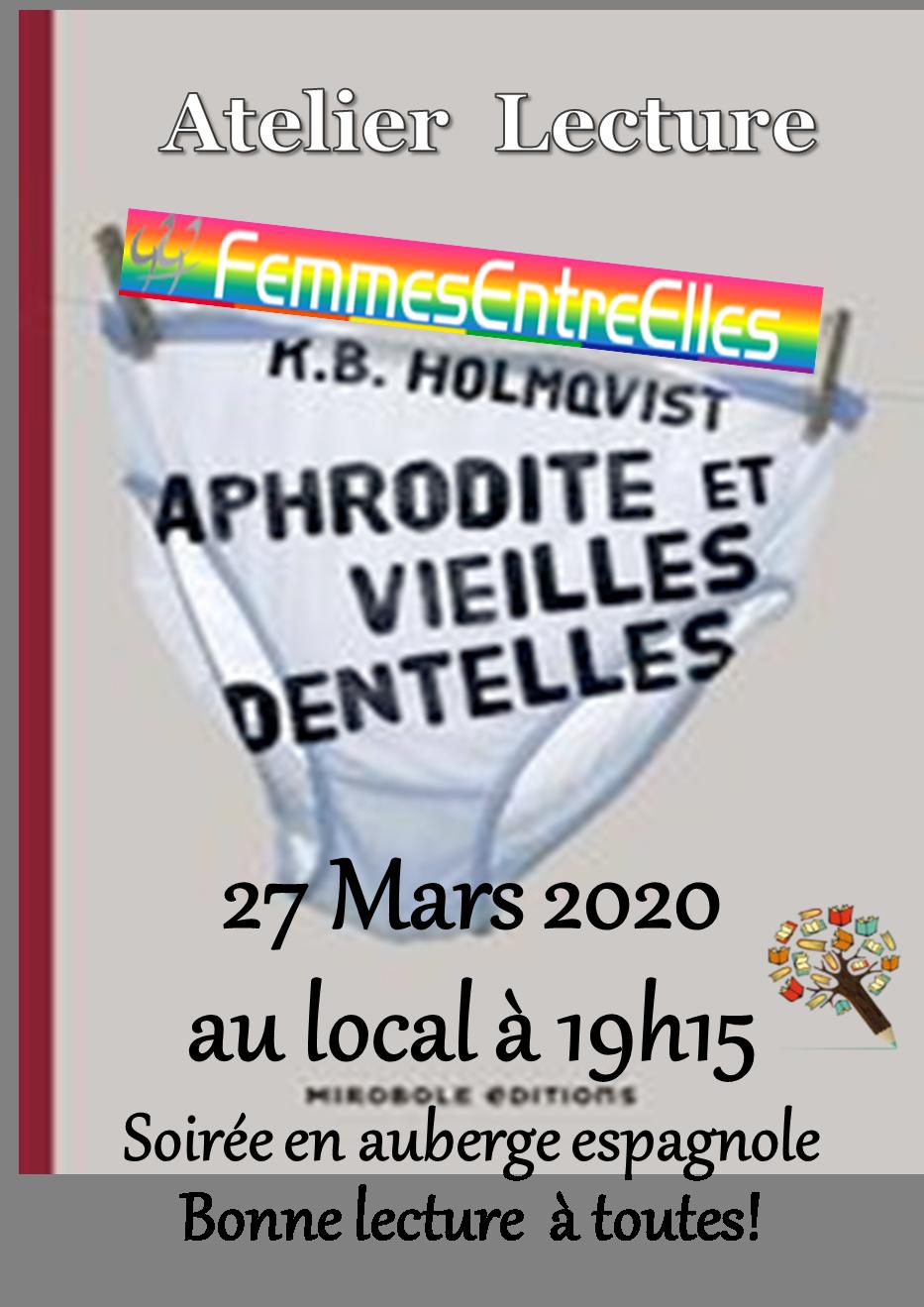 """[FEE] : Atelier lecture le 27 Mars avec """"Aphrodite et vieilles dentelles""""  Karin Brunk Holmqvist"""
