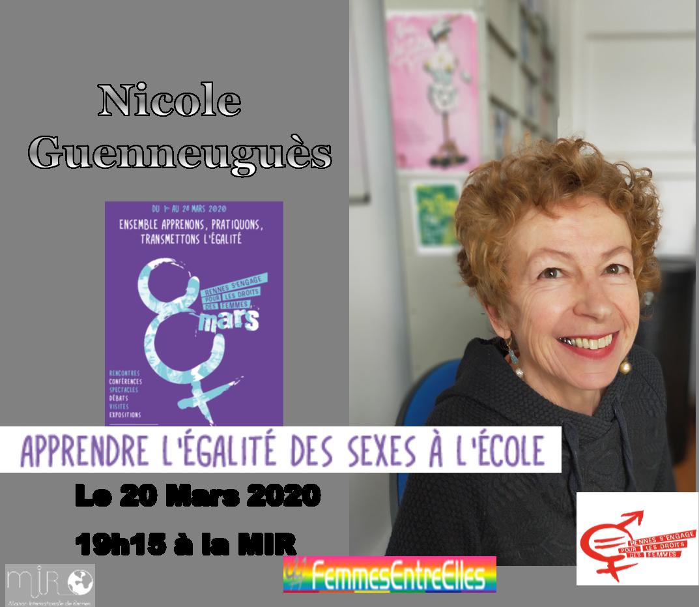 """Conférence FEE, Journées du 8 Mars, """"Apprendre l'égalité des sexes à l'école"""" le 20 Mars 2020 à la MIR"""