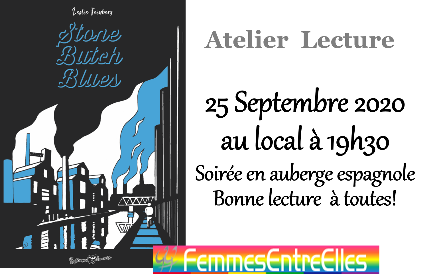 "[FEE] : Atelier lecture le 25 Septembre 2020 à 19h30 au local ""Stone Butch Blues"""