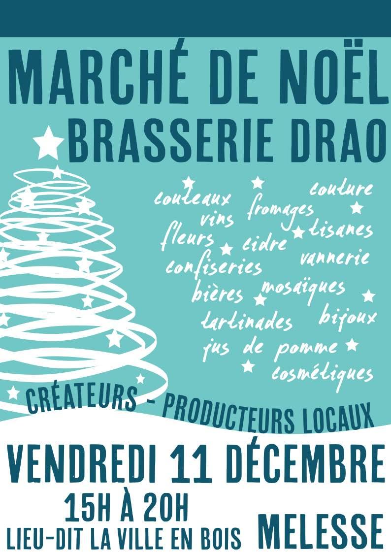 Marché de Noël à la ferme-brasserie Drao de Melesse le 11 décembre de 15h à 20h